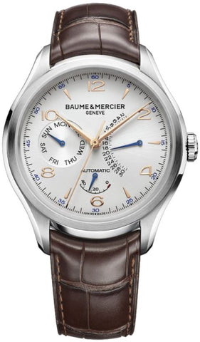 Baume & Mercier Clifton Retrograde Date Watch Silber