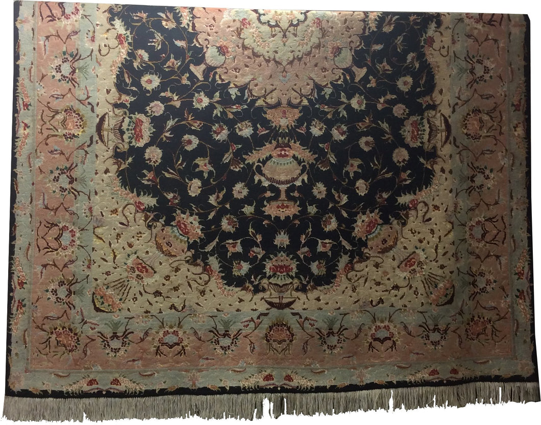 Tabriz Black Rose Hand-Knotted Rug