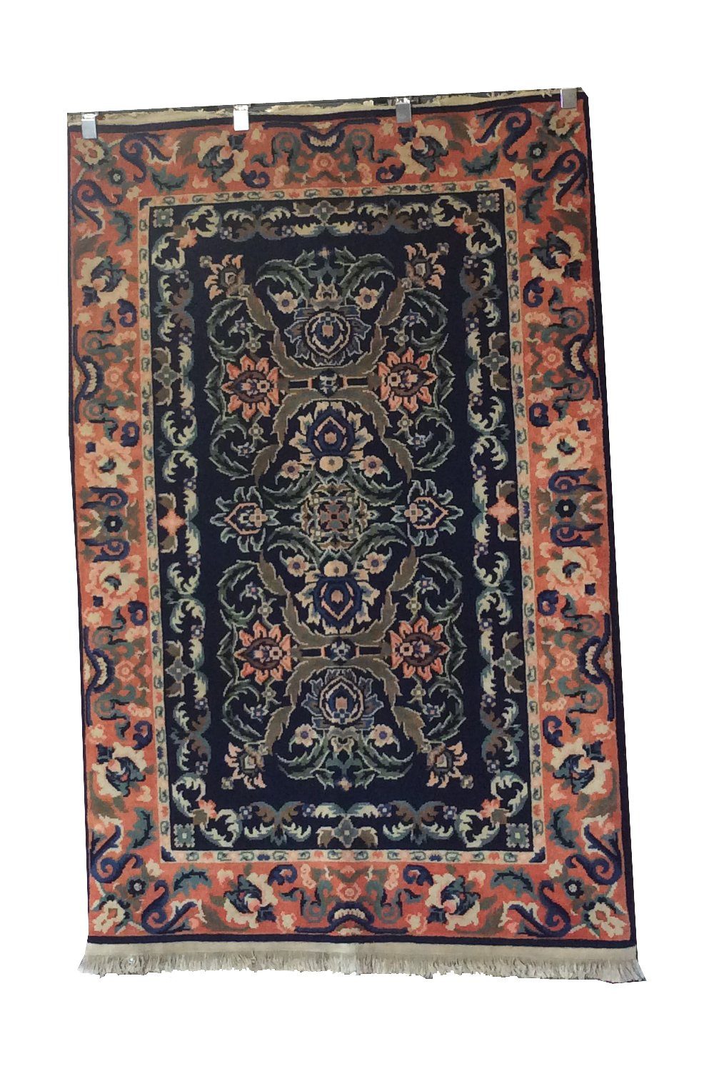 Oushak Navy Blue Peach Hand-Knotted Rug