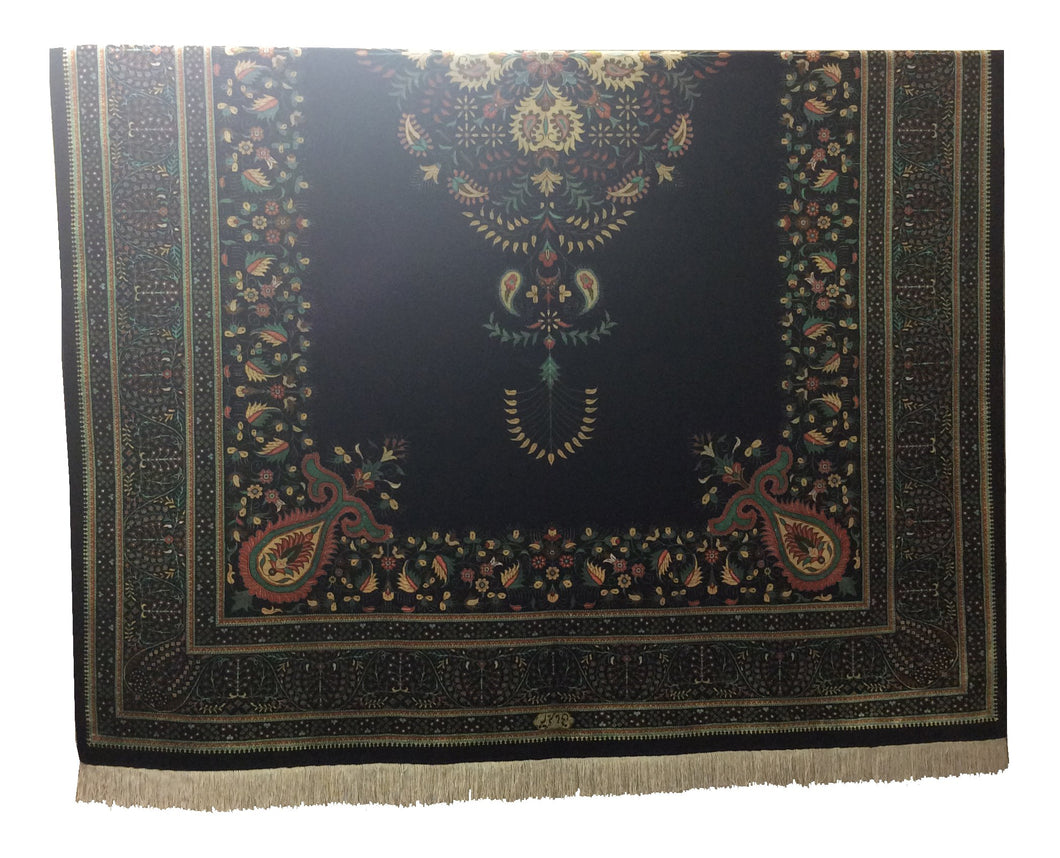 Qum Pure Silk Black Hand-Knotted Rug