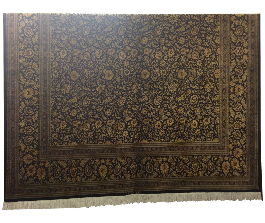 Qum Pure Silk Black Gold Hand-Knotted Rug