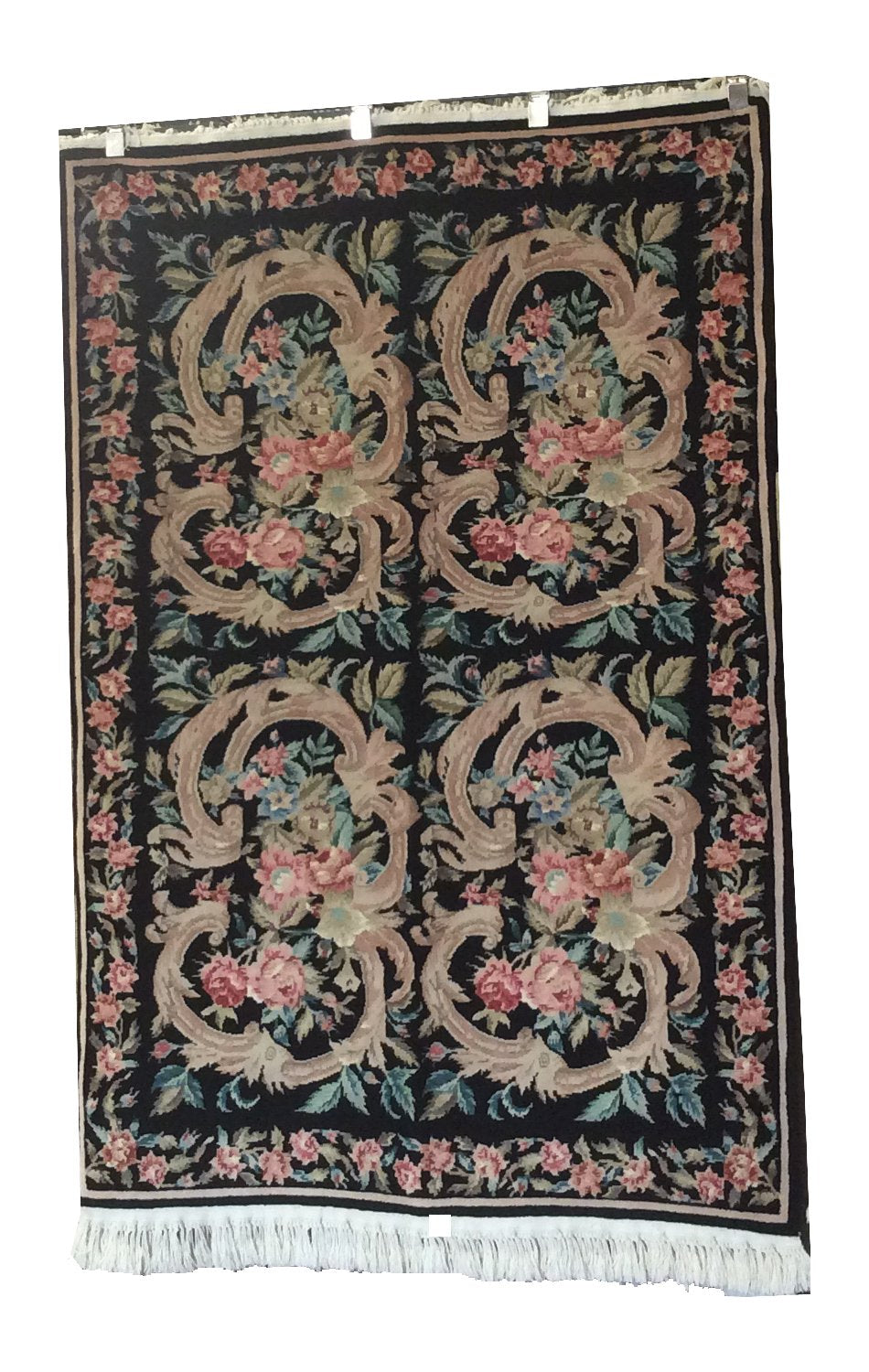 Aubusson Black Rose Green Hand-Knotted Rug - Rug Tycoon