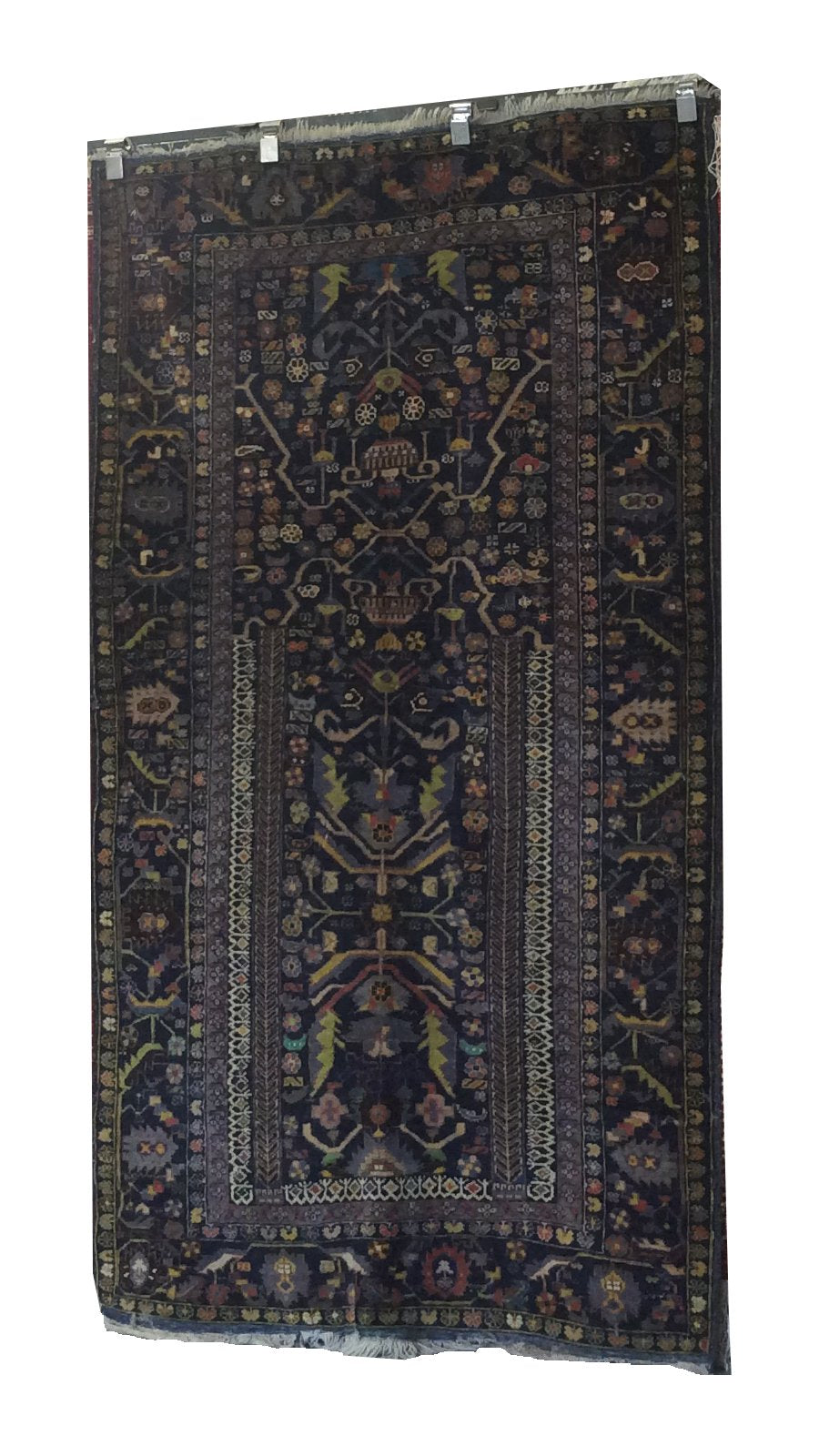 Afghanistan Tribal Navy Blue Green Hand-Knotted Rug - Rug Tycoon