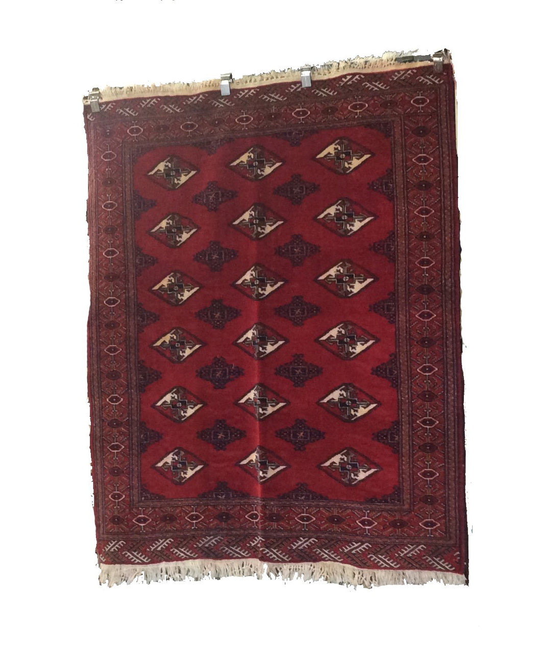Turkomen Red Hand-Knotted Rug