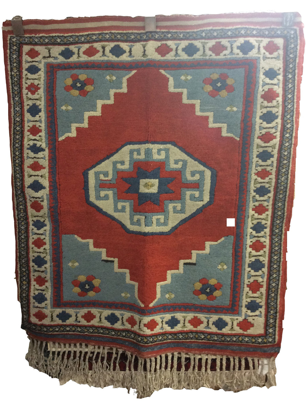 Turkish Red Rust Blue Hand-Knotted Rug