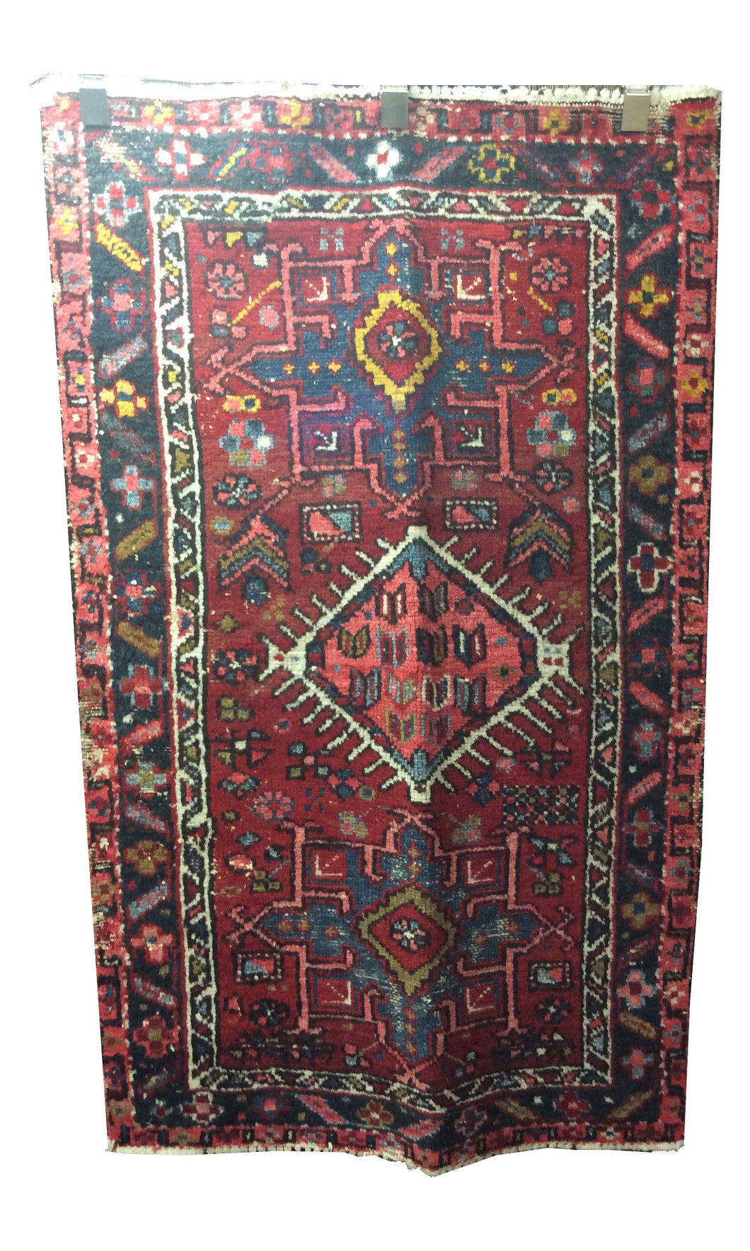 Heriz Red Blue Hand-Knotted Rug