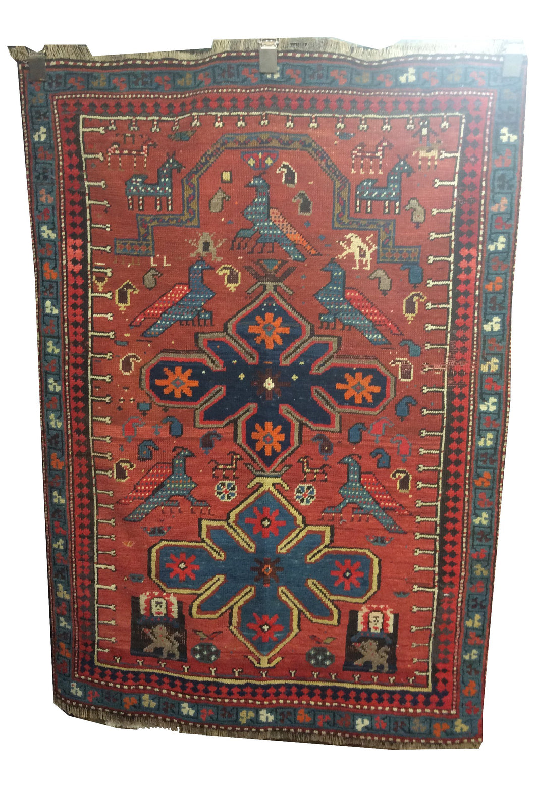 Antique Heriz Terracotta Navy Blue Hand-Knotted Rug - Rug Tycoon
