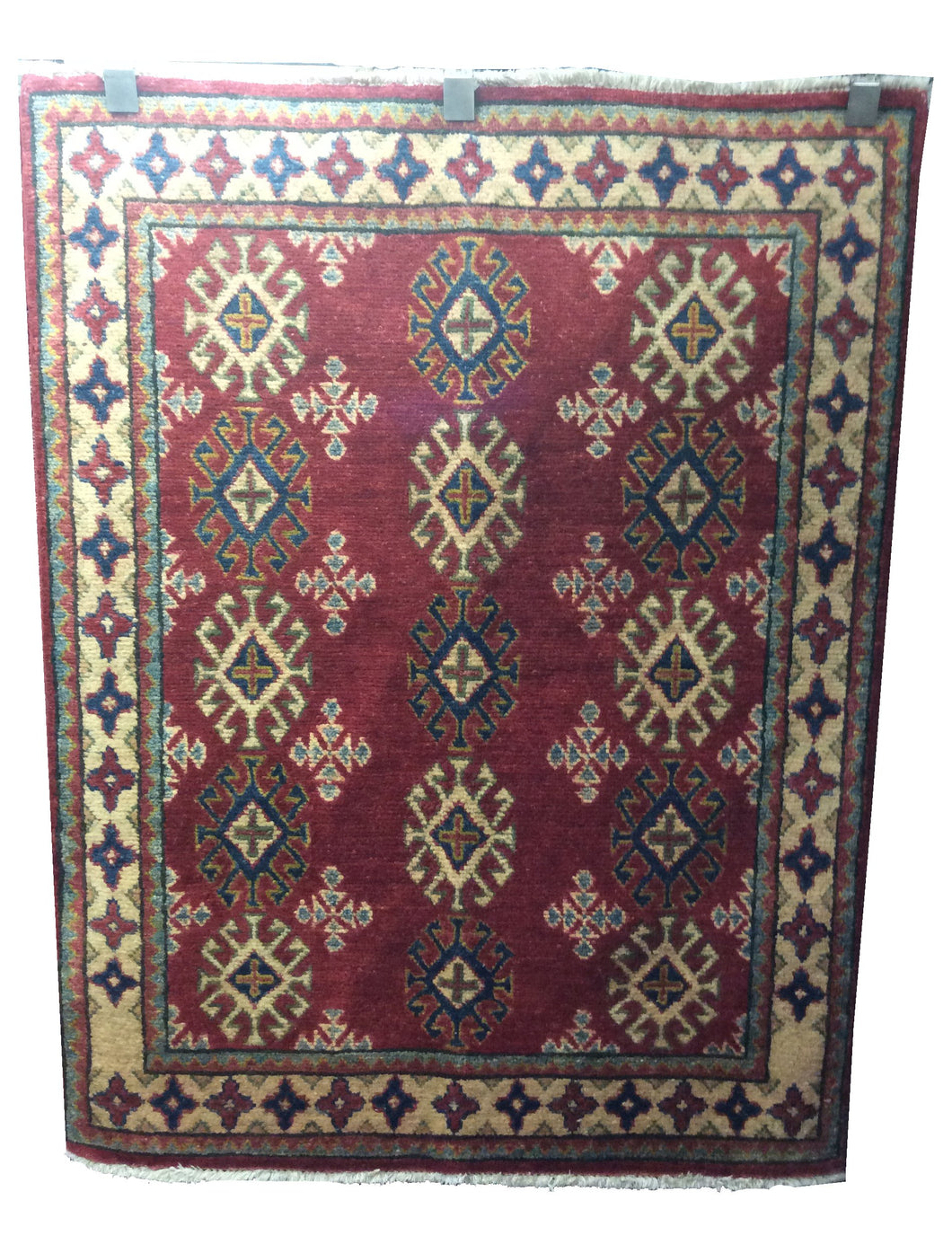 Kazak Red Blue Hand-Knotted Rug