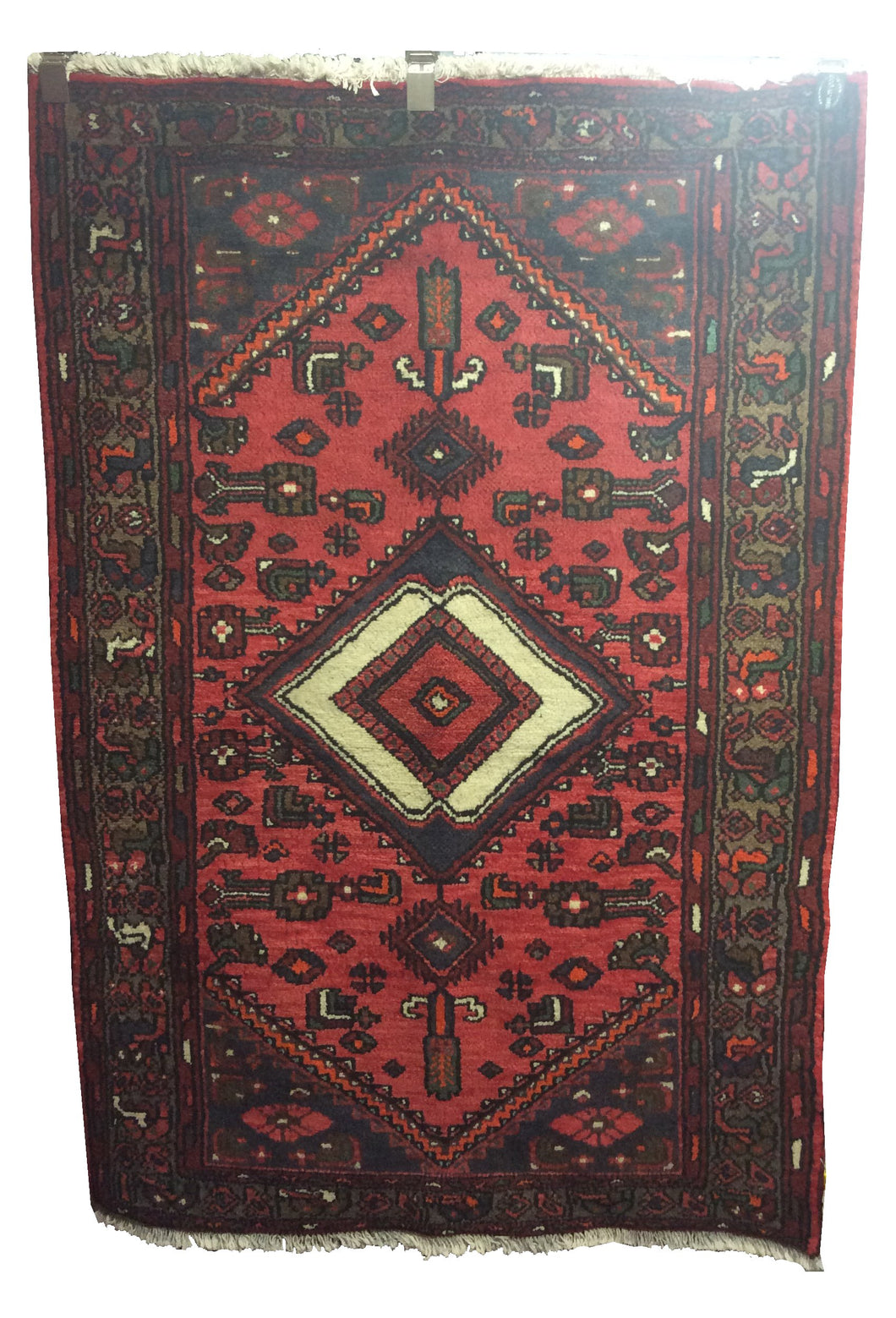 Tafresh Tribal Rust Red Blue Hand-Knotted Rug