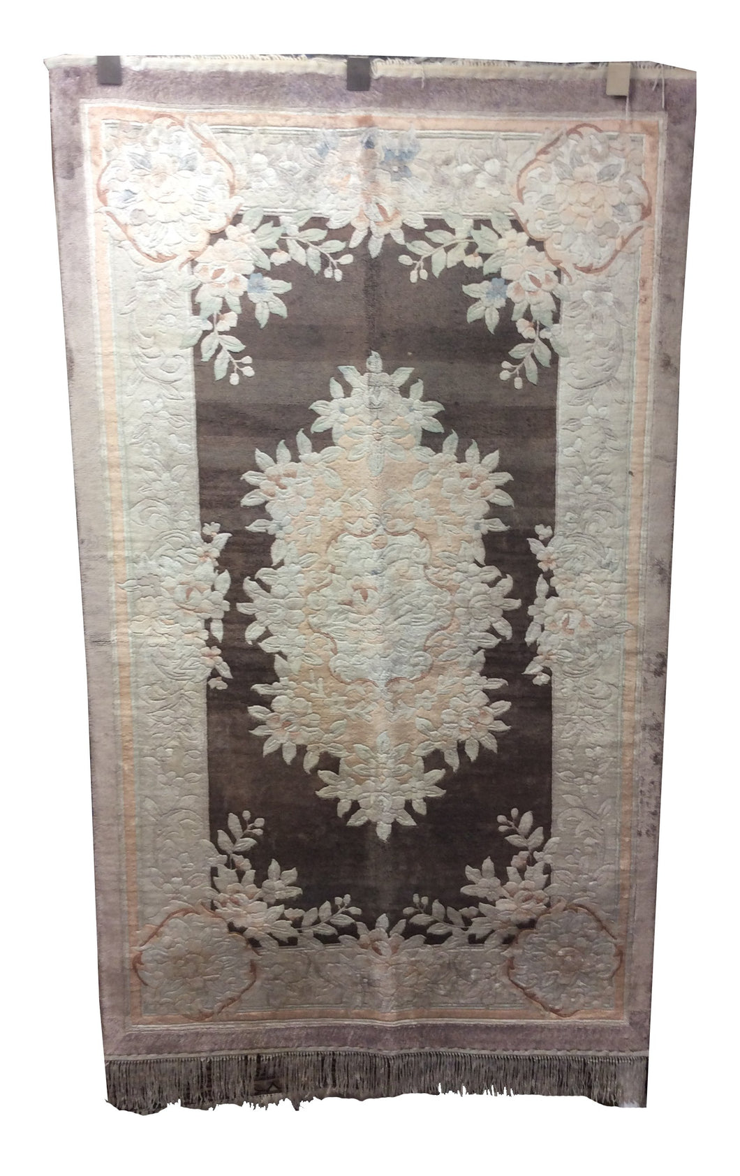 Chinese Pure Silk Aubusson Grey Hand-Knotted Rug