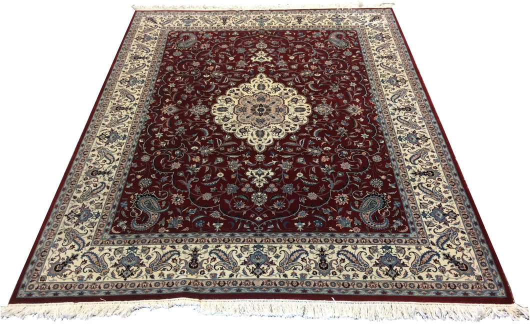 Pak Persian Red Blue Hand-Knotted Rug