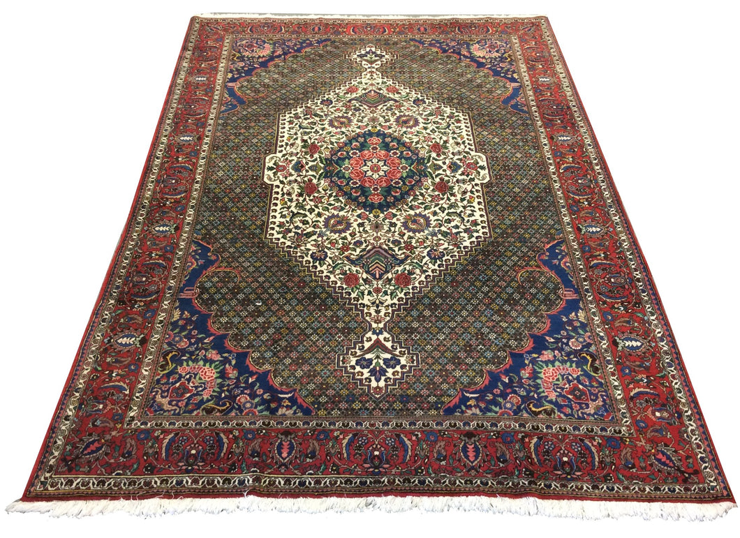 Baktarai Red Blue Hand-Knotted Rug - Rug Tycoon