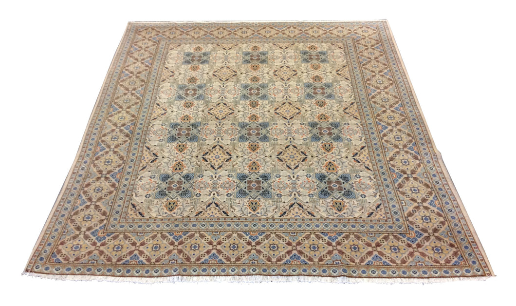 Kashan Ivory Blue  Hand-Knotted Rug
