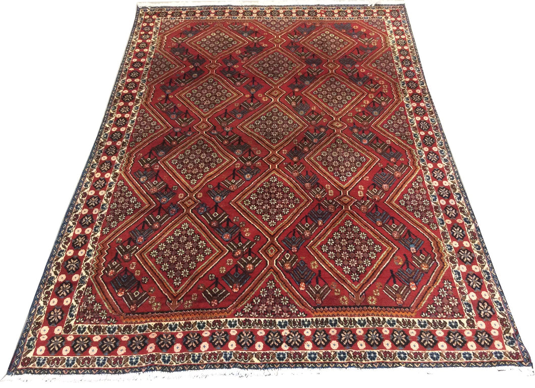 Afghan Tribal Red Blue Hand-Knotted Rug - Rug Tycoon