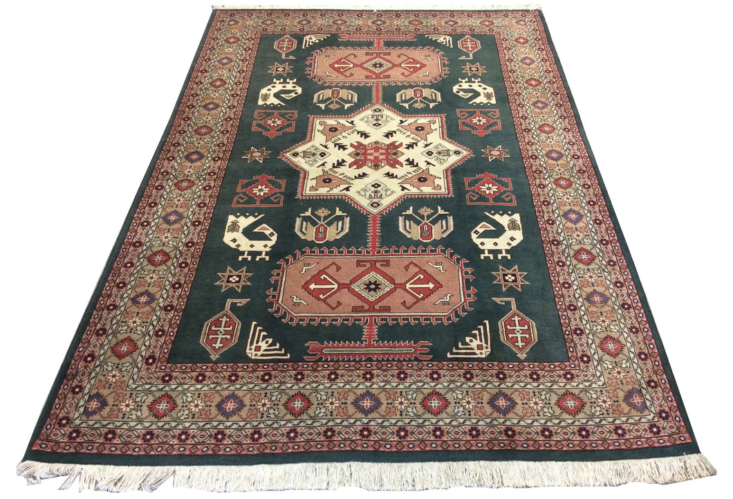 Arak Green Hand-Knotted Rug - Rug Tycoon