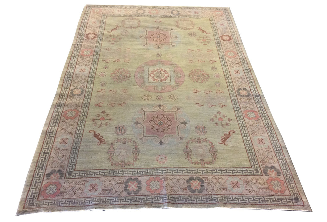 Khotan Green Hand-Knotted Rug
