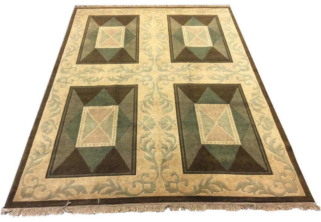 French Aubusson Green Hand-Knotted Rug