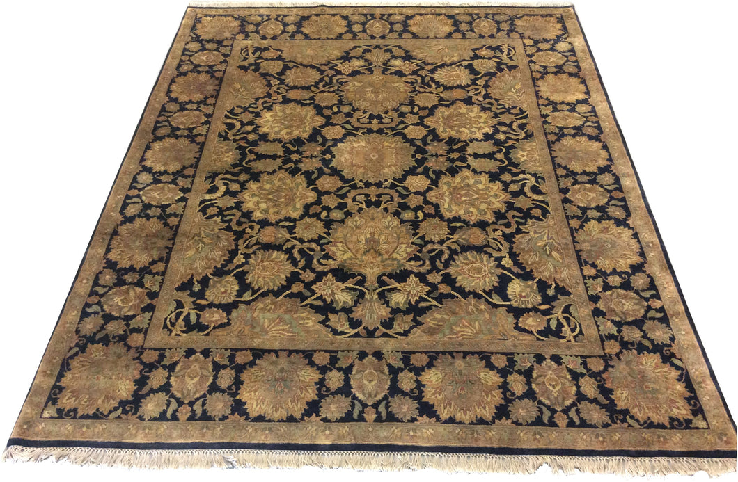 Jaipur  Black Hand-Knotted Rug