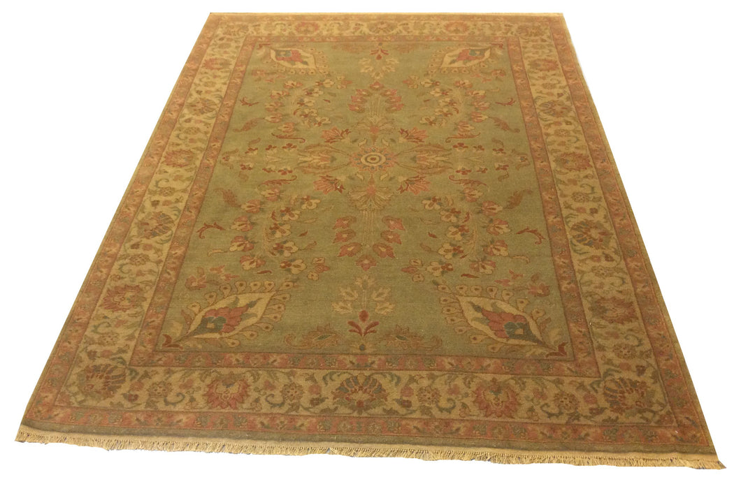 Jaipur  Green Hand-Knotted Rug