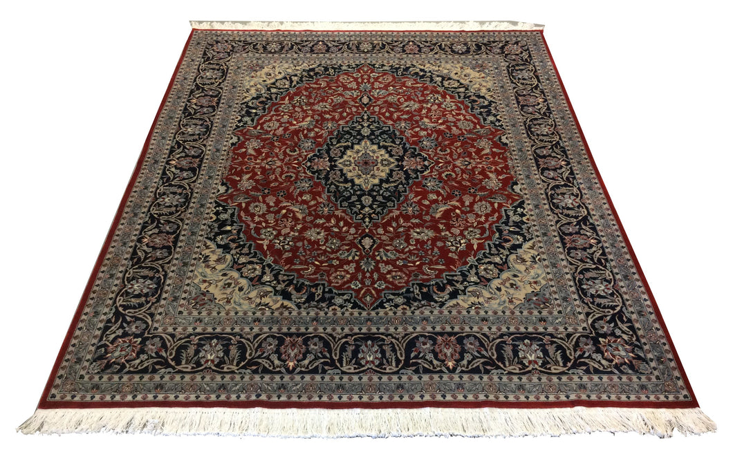Sino Kashan Red Navy blue Hand-Knotted Rug