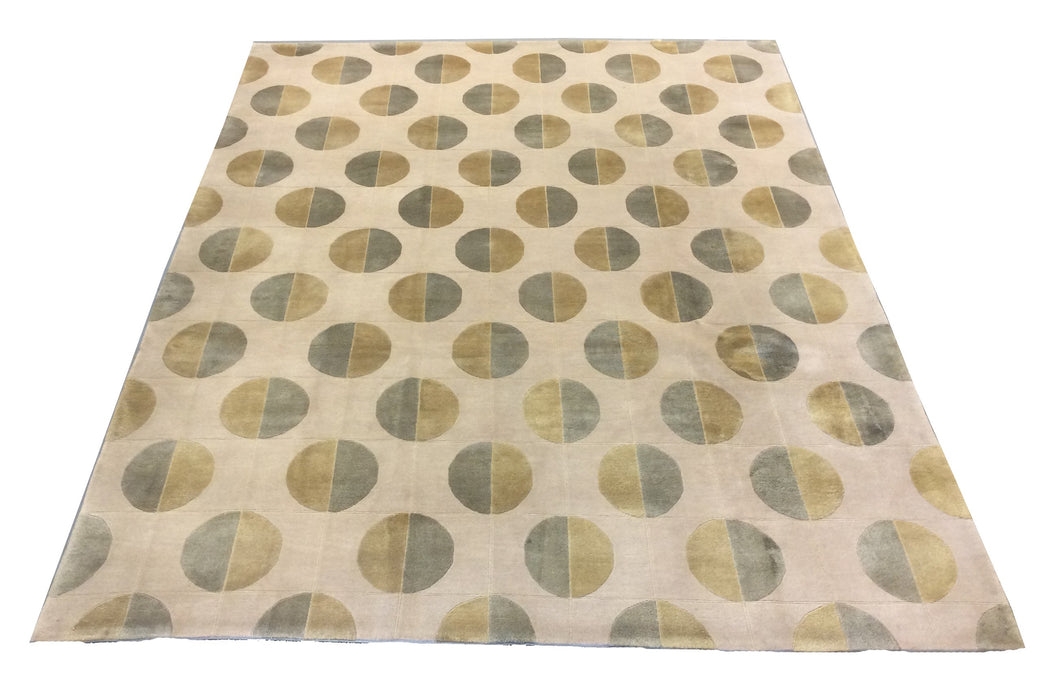Tibetan Ivory Green Gold Hand-Knotted Rug