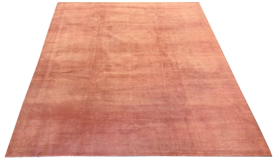 Tibetan Banana Silk Terracotta Orange Hand-Knotted Rug