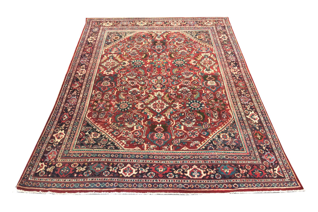 Tabriz Red Navy Blue Hand-Knotted Rug