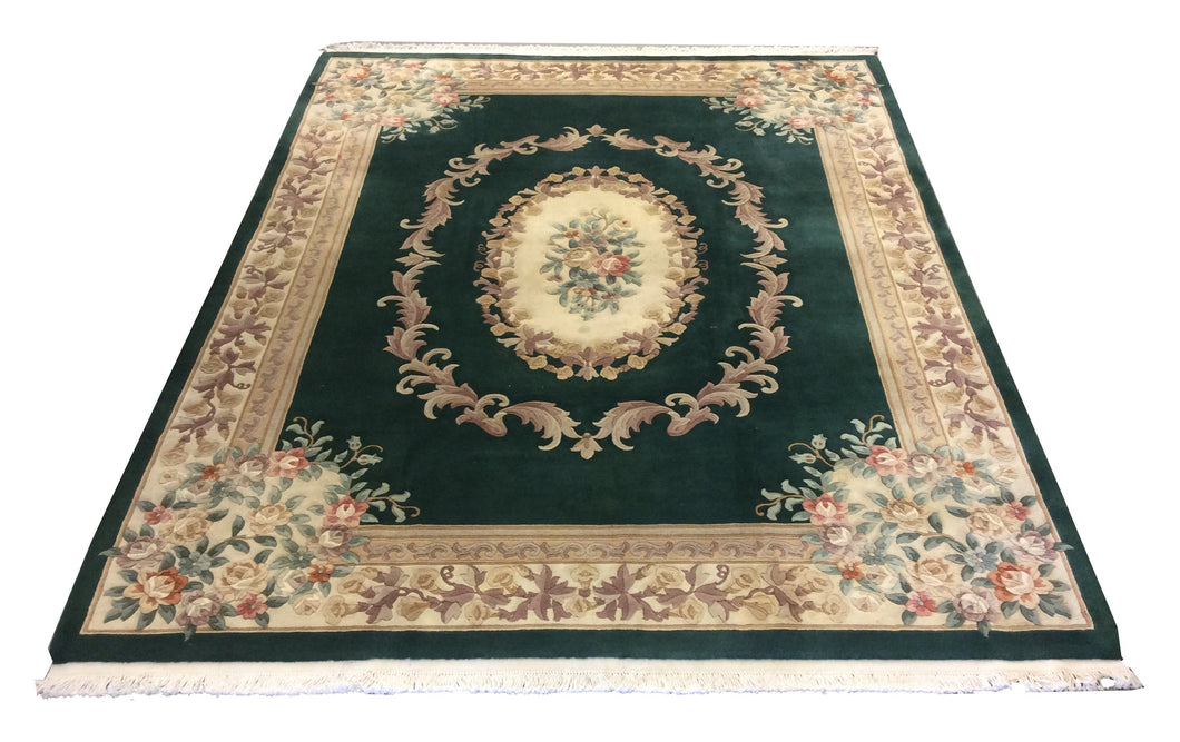 Chinese French Aubusson Green Hand-Knotted Rug