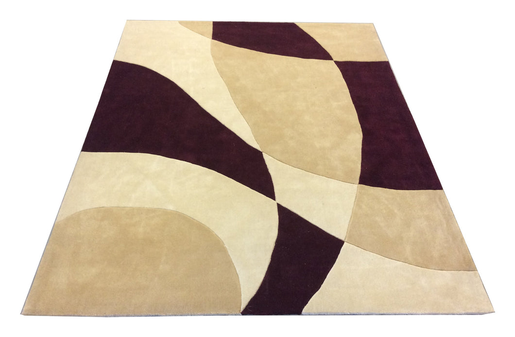 Tufted Tibetan Ivory Burgundy Hand-Knotted Rug