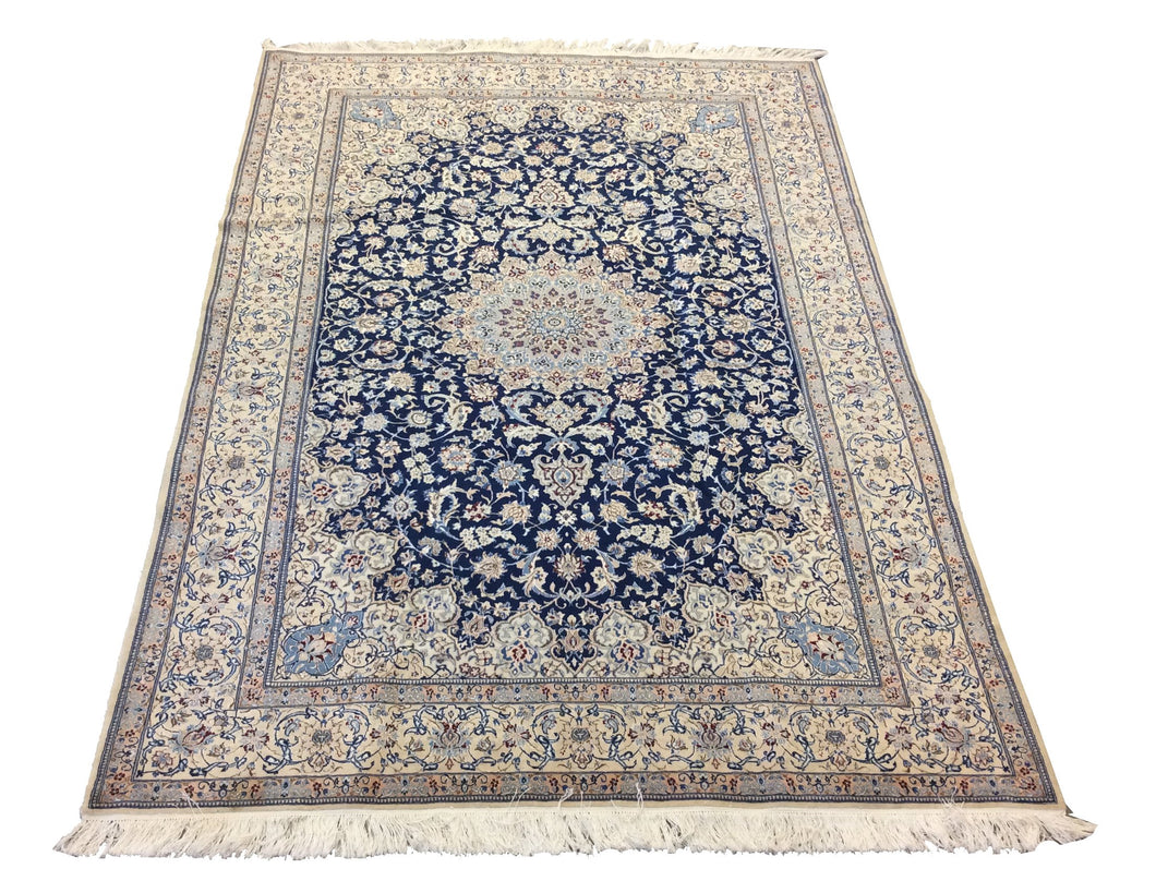 Nain Blue Ivory Hand-Knotted Rug
