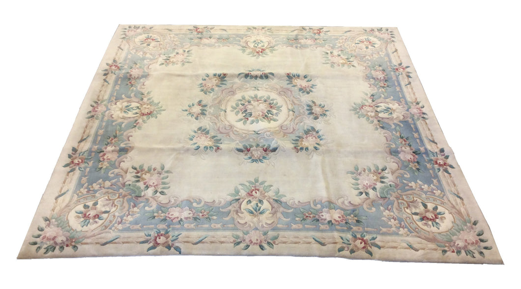 Chinese French Aubusson Ivory Blue Hand-Knotted Rug