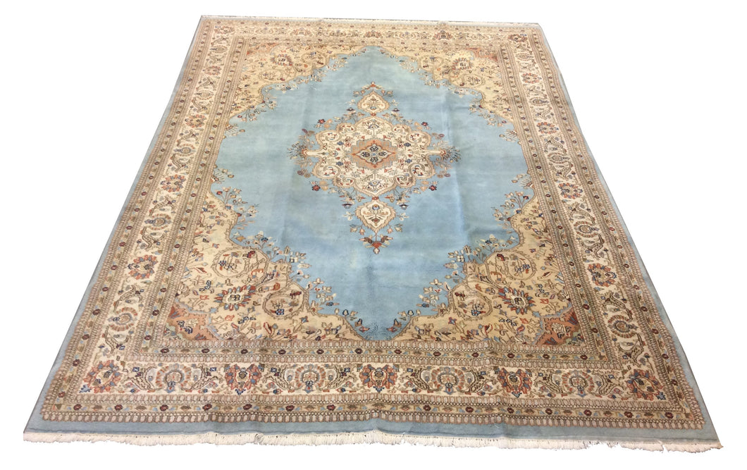 Kerman Light Blue Ivory Hand-Knotted Rug