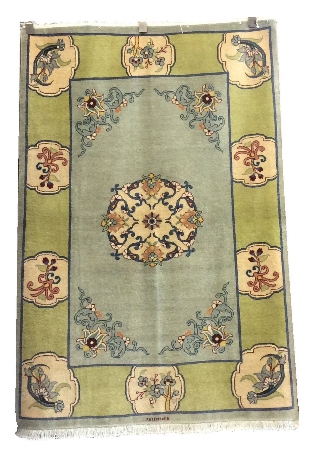 Tabriz Light Blue Green Hand-Knotted Rug