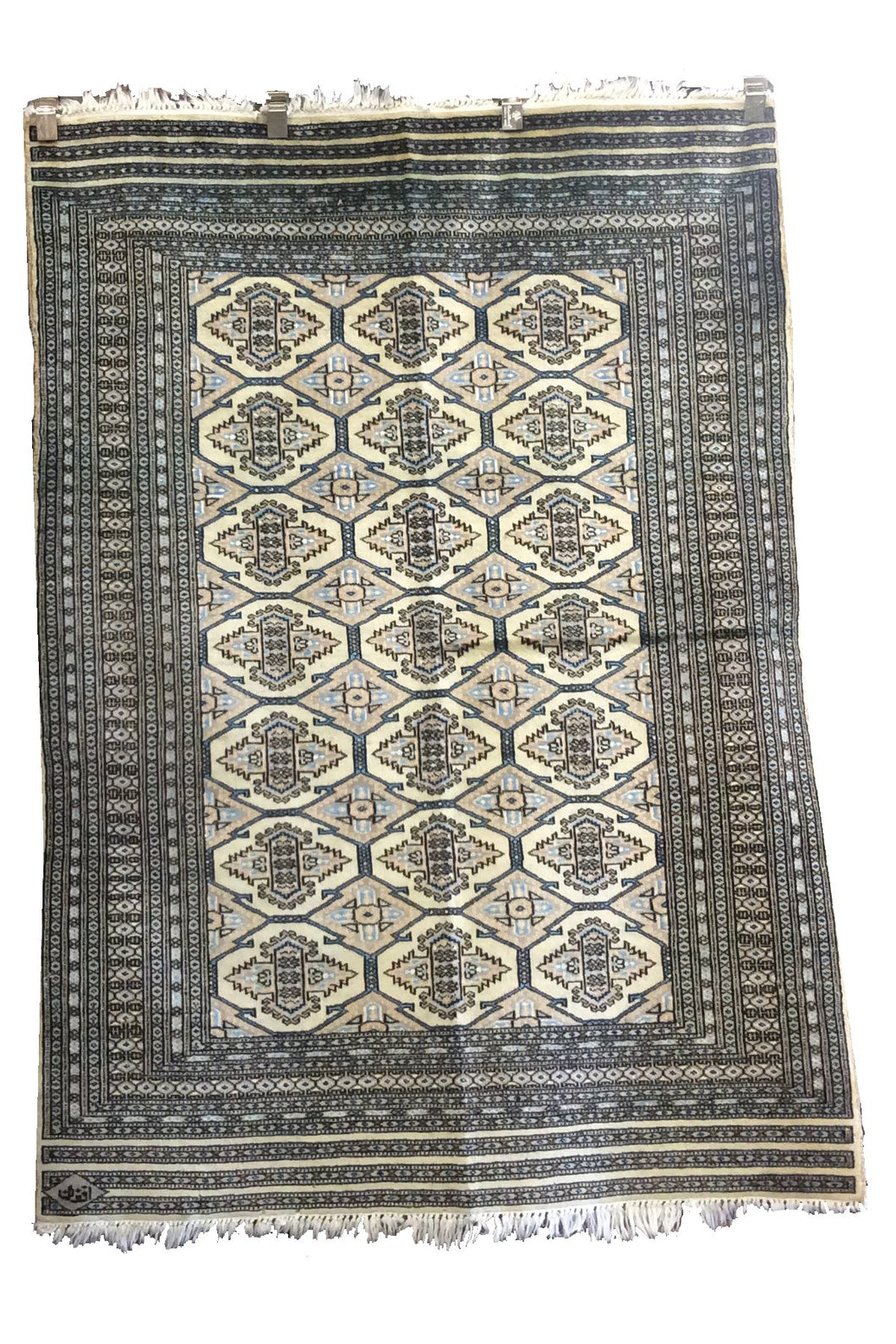 Bokhara Grey Ivory Hand-Knotted Rug - Rug Tycoon
