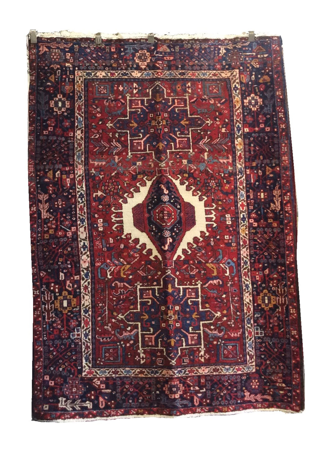 Heriz Red Black Hand-Knotted Rug