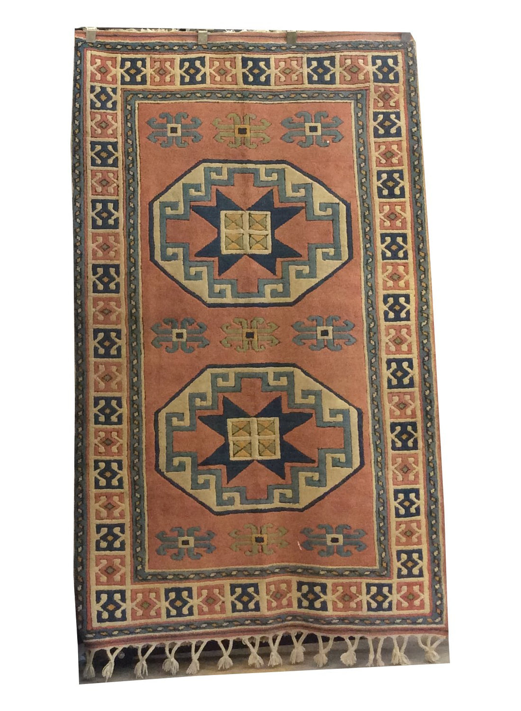 Turkish Brown Blue Hand-Knotted Rug