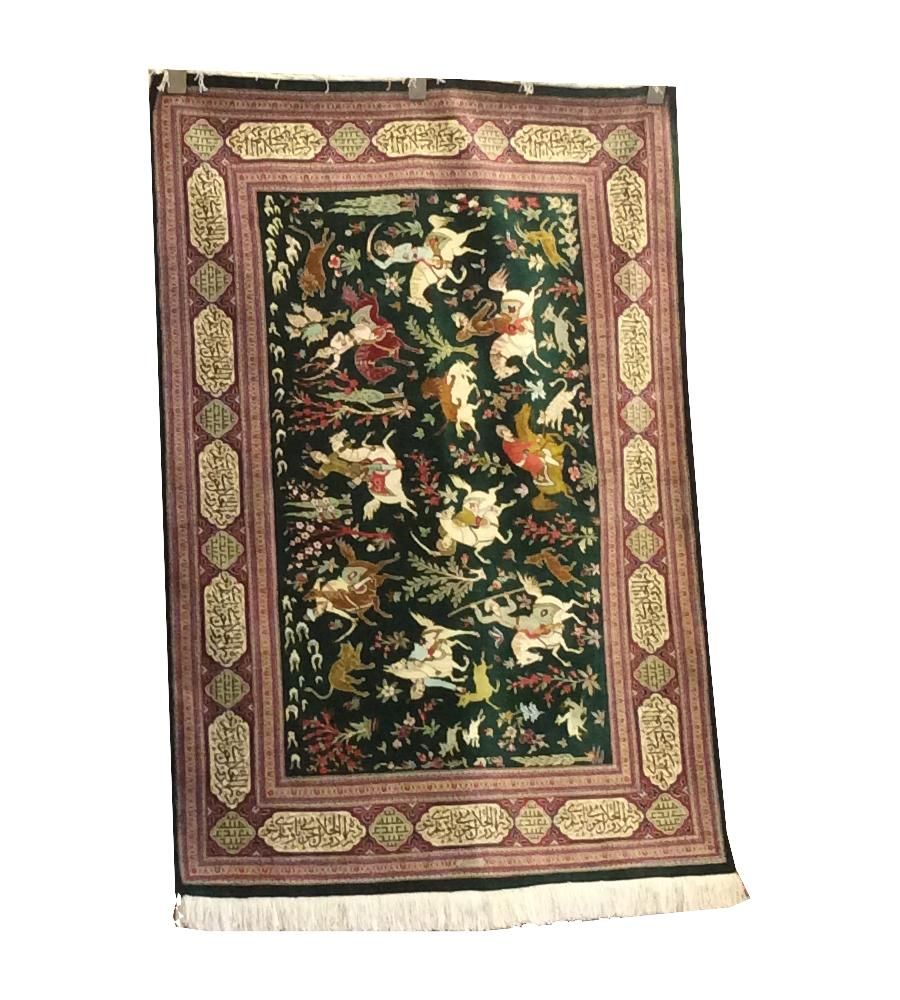 Qum Hunting Design Green Hand-Knotted Rug