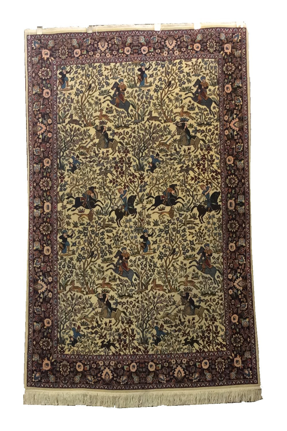 Pak Persian Hunting Design Ivory Black Hand-Knotted Rug