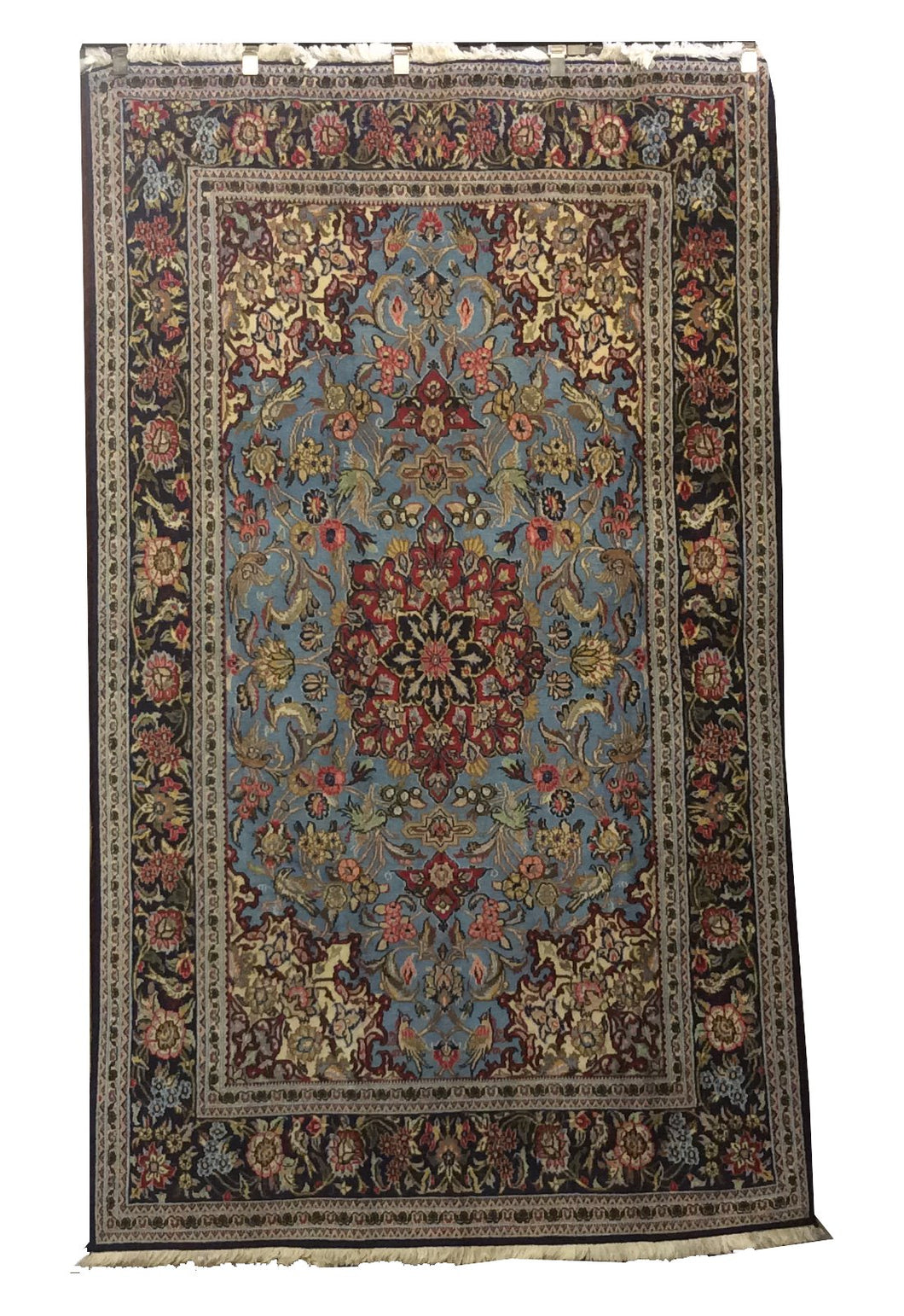 Esfahan Light Blue Navy Hand-Knotted Rug
