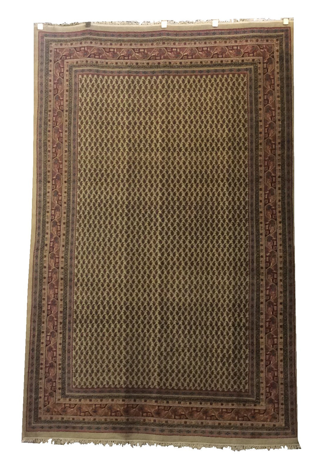 Mir Ivory Burgundy Hand-Knotted Rug