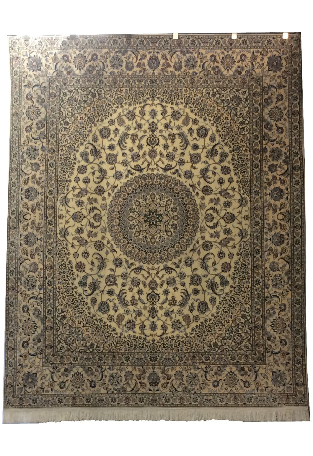Nain  Ivory Blue Hand-Knotted Rug