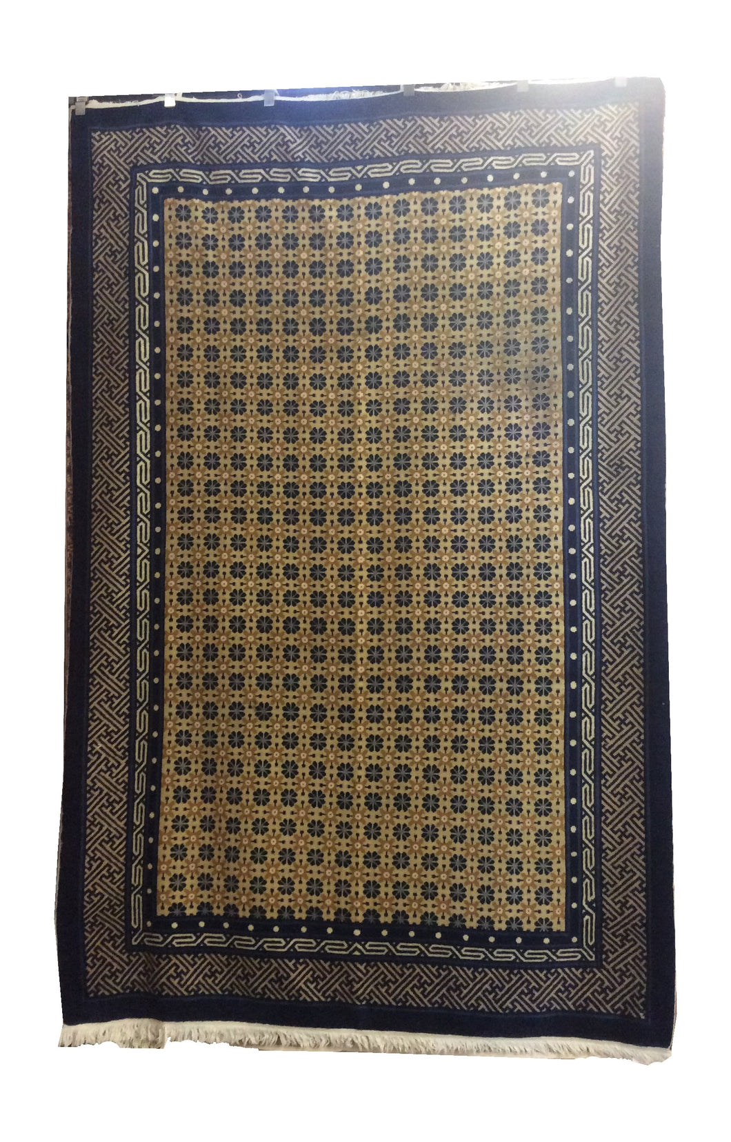 Antique Peking Navy Blue Yellow Hand-Knotted Rug - Rug Tycoon