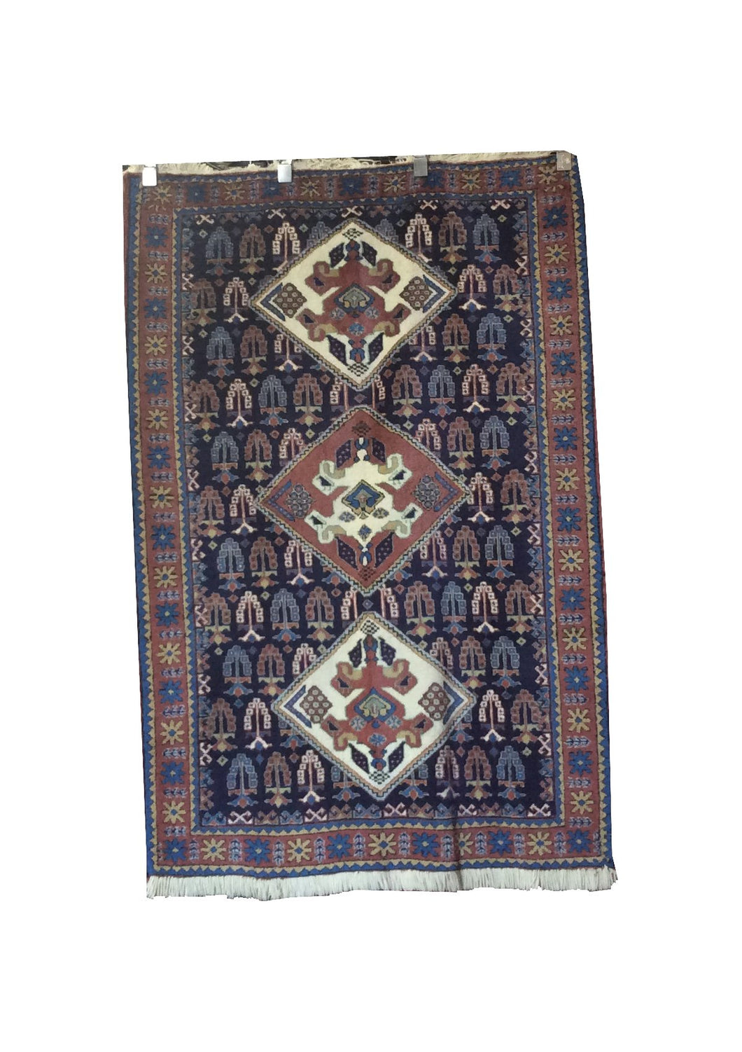 Turkish Navy Rose Hand-Knotted Rug