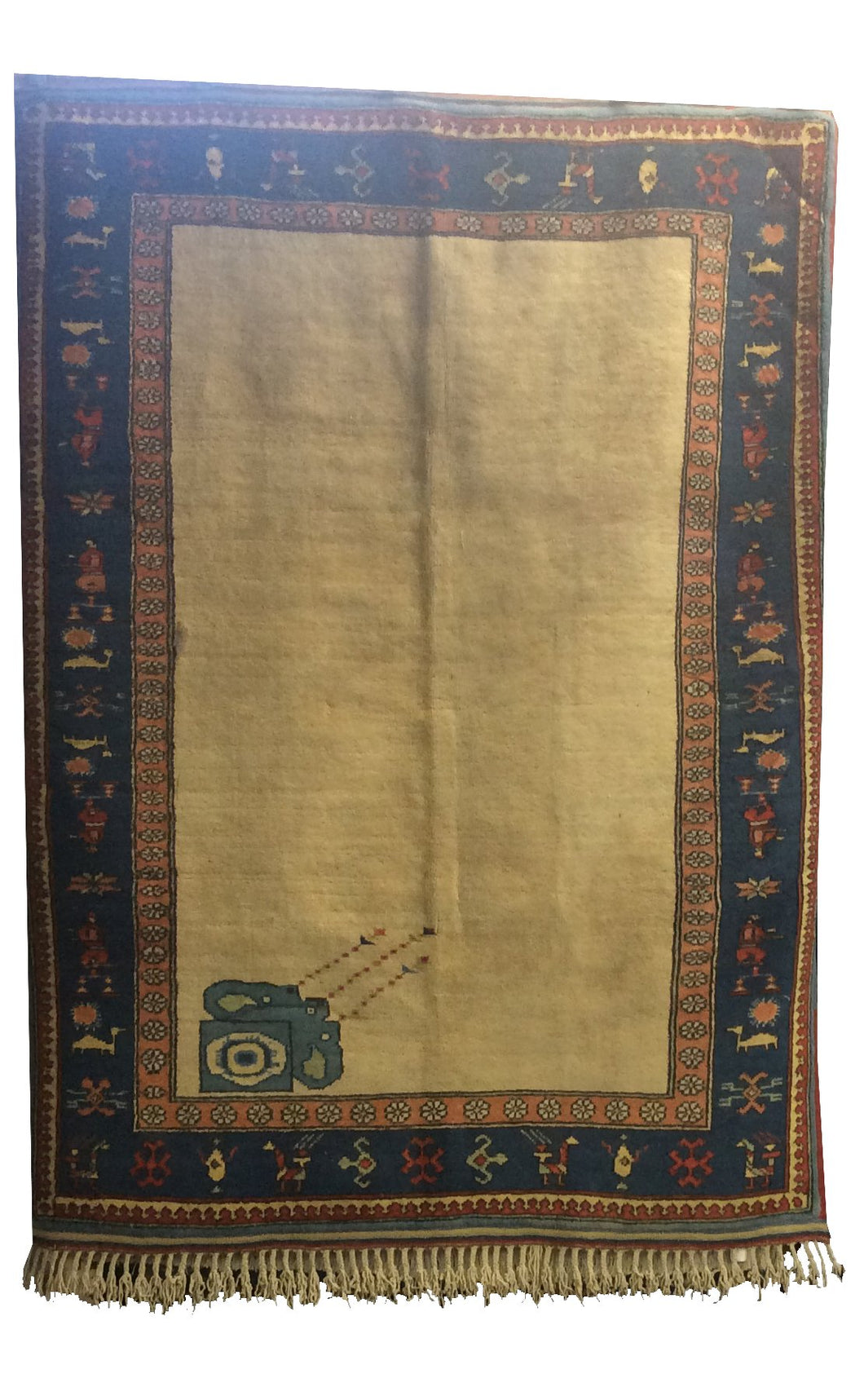 Turkish Ivory Blue Hand-Knotted Rug