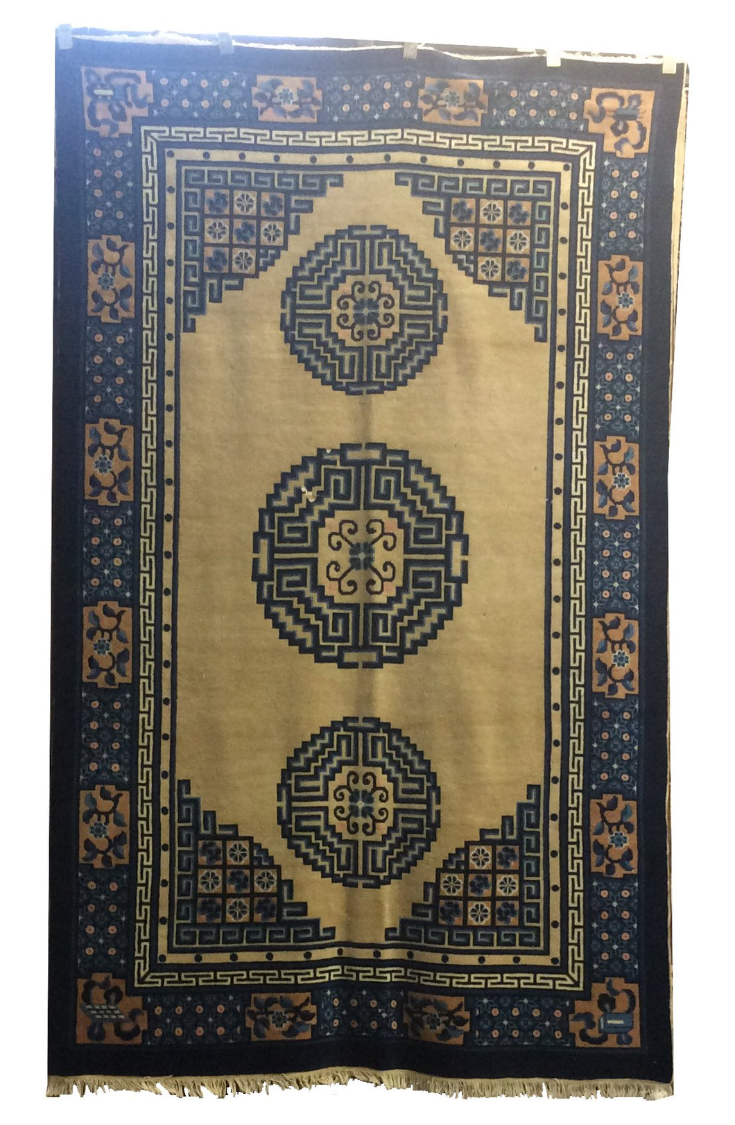 Antique Peking Ivory Navy Blue Hand-Knotted Rug - Rug Tycoon
