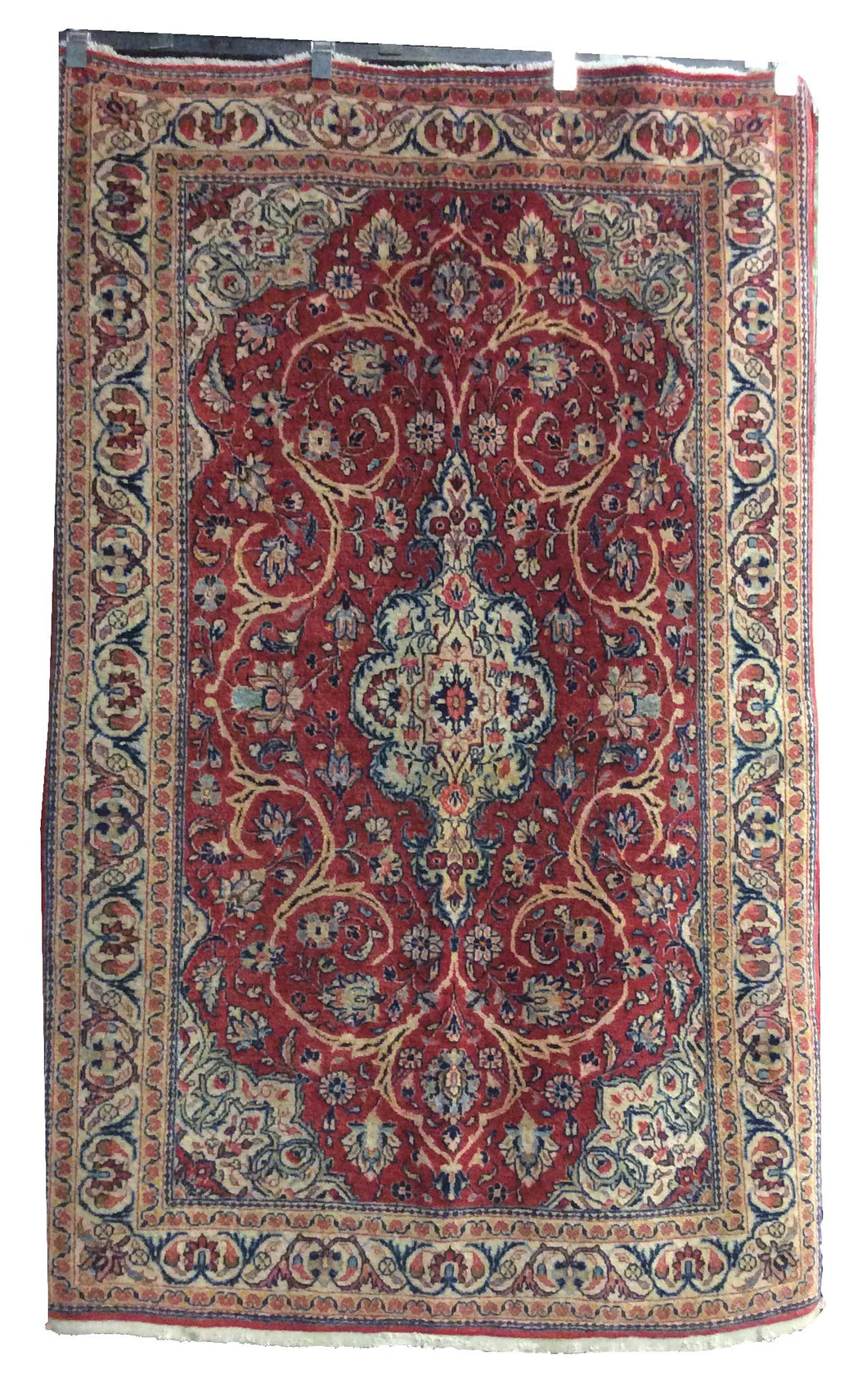 Sarough Red Navy Blue Hand-Knotted Rug