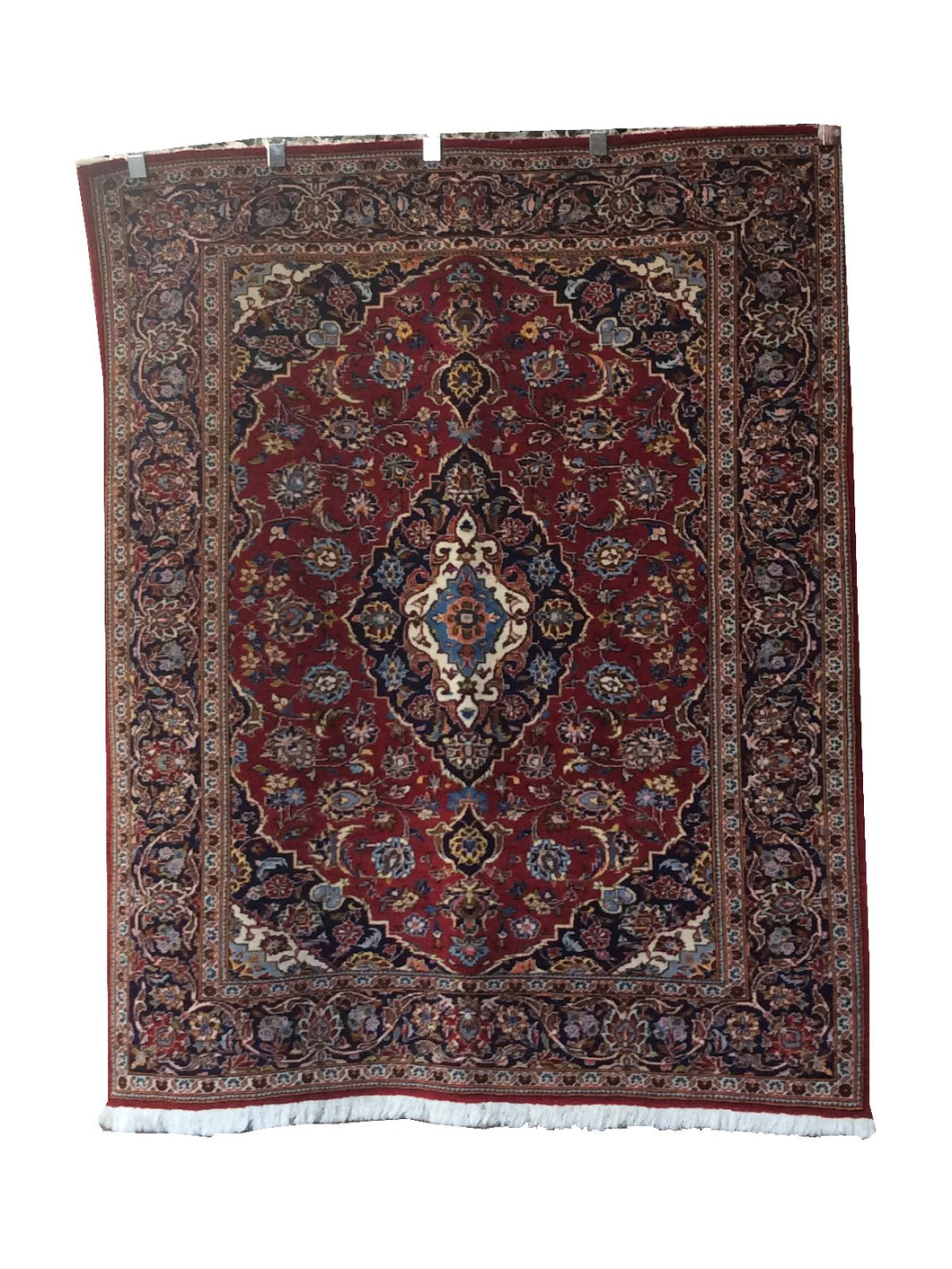 Kashan Red Navy Blue Hand-Knotted Rug