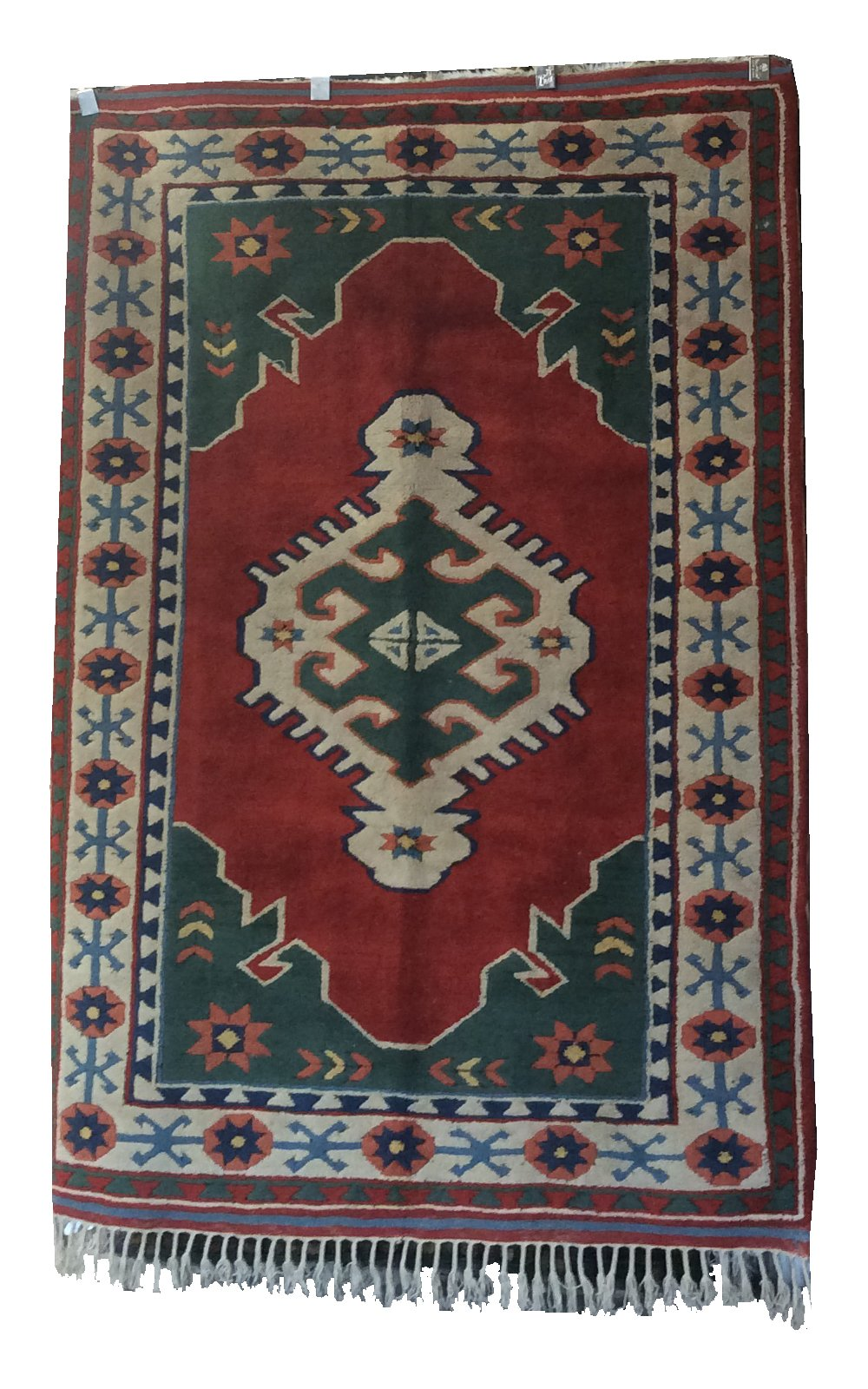 Turkish Red Green Hand-Knotted Rug
