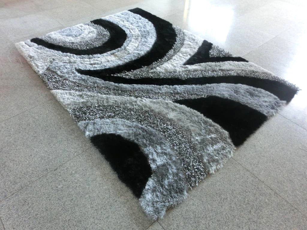 B16 Black Grey Area Rug