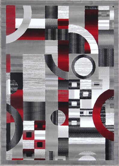 Gray/Red Area Rug